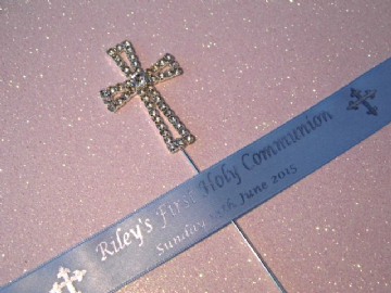 1st Holy Communion cake topper & personalised ribbon